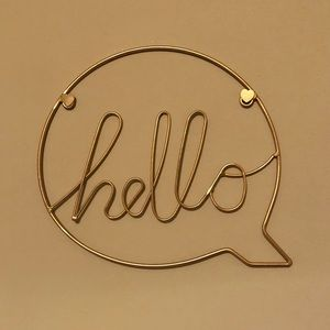 "Gold Wire ""Hello"" Wall Hanging"